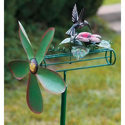 Handcrafted Metal Kinetic Hummingbird Whirligig with Pole