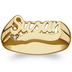 Gold Over Sterling Name Ring with Tail and Diamond Heart