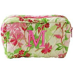 Pink Floral Print Single Initial Small Cosmetic Bag