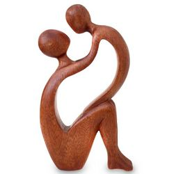 I Adore You Mother and Child Wood Sculpture