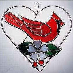 Red Cardinal Stained Glass Heart