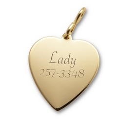 Small Gold Heart Pet Tag