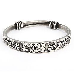 Swirling Lotus Bali Bangle Bracelet