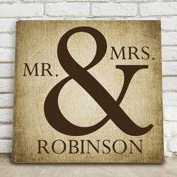 "Mr & Mrs Personalized 14"" Burlap Canvas Print"