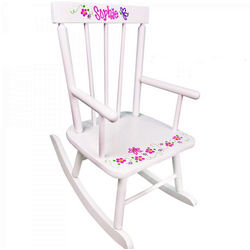Personalized Child's White Rocking Chair