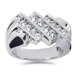 1.04 ctw Men's Diamond Ring in 18K White Gold