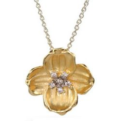 Vermeil Dogwood Flower Pendant with CZ Accents