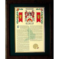 Personalized History with Coat of Arms Matted & Framed Print