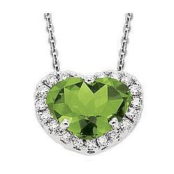 14K White Gold Peridot Prong Diamond Heart Necklace