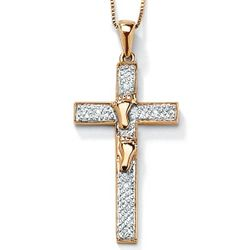 Gold Over Silver Diamond Accent Footprints Cross Pendant