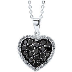 Sterling Silver Black Cubic Zirconia Heart Pendant Necklace