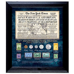 Pearl Harbor 70th Anniversary New York Times Coin & Stamp Plaque