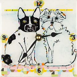 Two Dogs Resin Desk Clock