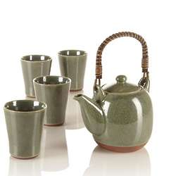 Seagrass Teapot and Tea Cups Set