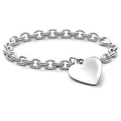 Children's Heart-Tag Bracelet in Sterling Silver