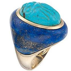 Turquoise and Lapis Scarab Ring In 14kt Over Sterling