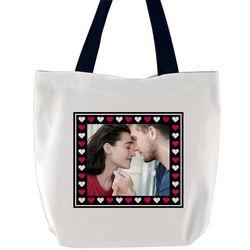 Custom Photo Hearts Tote Bag