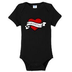 Grandma Heart Tattoo Baby Bodysuit