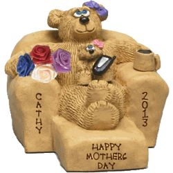 Personalized Mom Bear with Kids on Recliner Figurine
