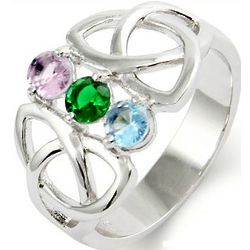 Close to the Heart Three Stone Celtic Trinity Birthstone Ring