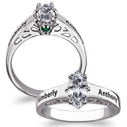 Sterling Silver Name and Hidden Birthstone Promise Ring