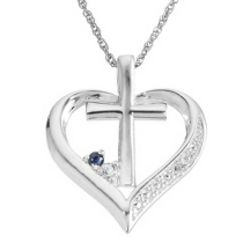 Sterling Silver Birthstone and Diamond Accent Cross Necklace
