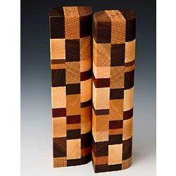 Mosaic Wood Design Salt and Pepper Shakers
