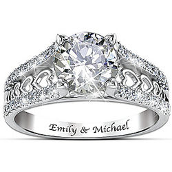 One Love Personalized White Topaz and Sterling Silver Ring