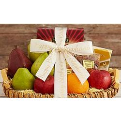 Organic Fruit Assortment Gift Basket with Personalized Ribbon