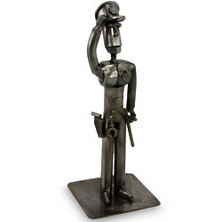 Brave Policeman Recycled Metal Statuette