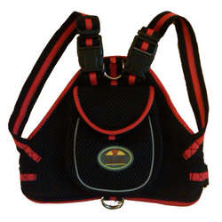 Double-Ring Pet Harness with Built-in Velcro Back Pouch