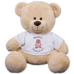 Personalized New Baby Girl Sherman Teddy Bear
