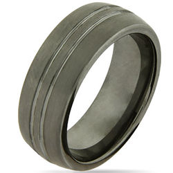 Double Grooved Brushed Finish Tungsten Ring