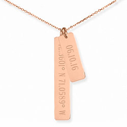 Personalized Anniversary Date & Coordinate Rose Gold Bar Necklace
