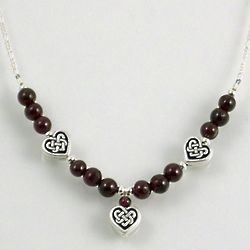 Cherish These Three Hearts Garnet and Celtic Knot Necklace