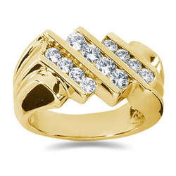 1.04 ctw Men's Diamond Ring in 14K Yellow Gold