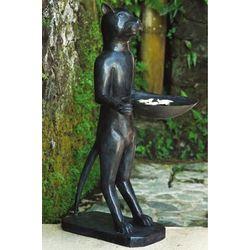Feline Bird Bath Bronze Sculpture