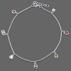 Sterling Silver Anklet Chain in Multicolor CZ Charms