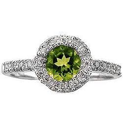 14k White Gold Peridot Diamond Fashion Ring