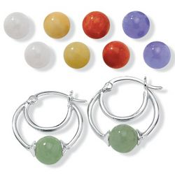 6-Pc. Interchangeable Jade Sterling Silver Earring Set