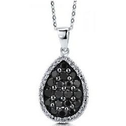 Sterling Silver Black Cubic Zirconia Pear Pendant Necklace