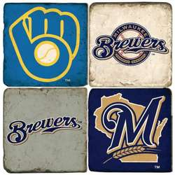 Milwaukee Brewers Tumbled Italian Marble Coasters