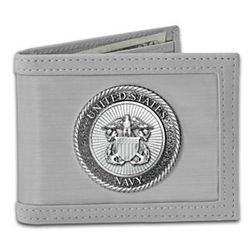 US Navy Anchors Aweigh Stainless Steel Men's Wallet