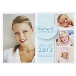 Pretty Girl in Blue Custom Photo Graduation Invitation