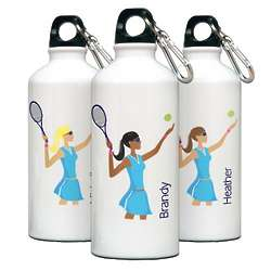 Personalized Go Girl Tennis Water Bottle