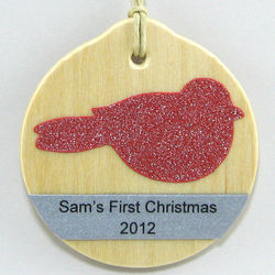 Personalized Glitter and Wood Ornament