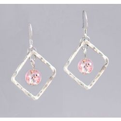 Pink Bead and Hammered Silver Earrings