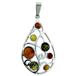 Multicolor Baltic Amber Pendant in Sterling Silver