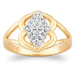 18K Gold Over Sterling Diamond Cluster Ring