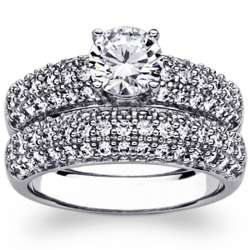 Platinum-Plated Pave Cubic Zirconia Wedding Ring Set